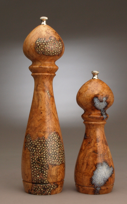 Cherry Burl inlaid pepper and salt set 12 inch peppermill