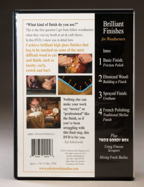 Brilliant Finishes for Woodturners DVD Back Cover