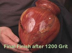 Sample final finish after sanding to 1200 grit with Klingspor sandpaper shop rolls