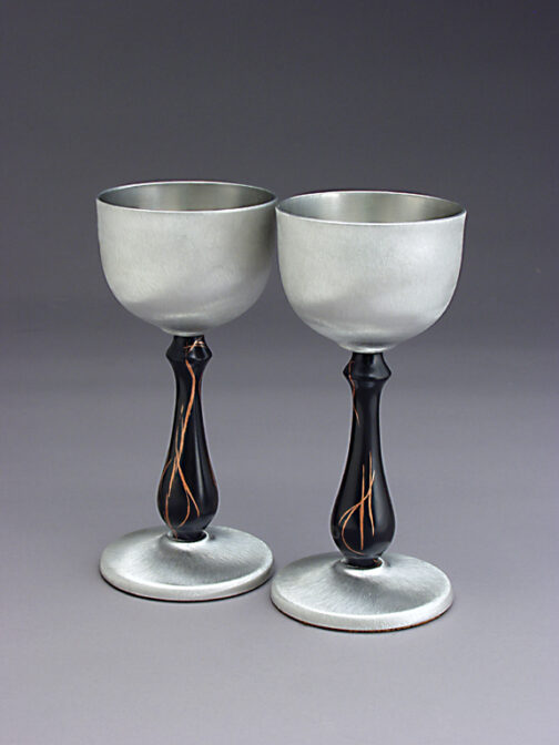 Gabon Ebony and pewter metal spun wine goblets
