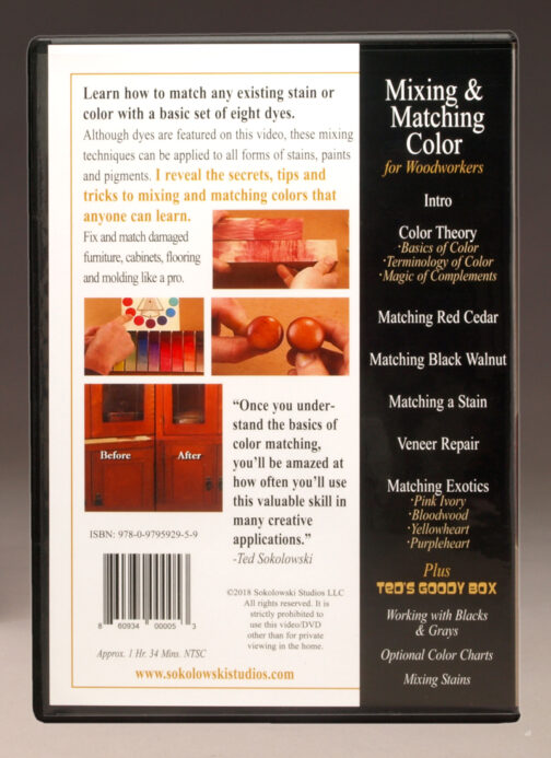 Mixing & Matching Color for Woodworkders DVD by Ted Sokolowski Back Cover
