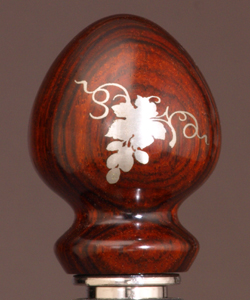 Pewter metal inlay grape wine stopper