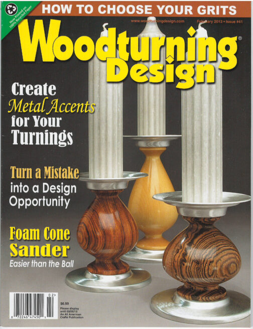WoodTurning Design Magazine cover with candlesticks by ted sokolowski