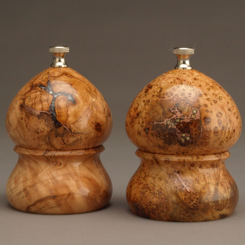 Cherry Burl inlaid pepper and salt set 4 inch peppermill and saltmill
