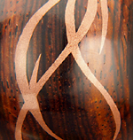 Close-up of copper inlay in stopper