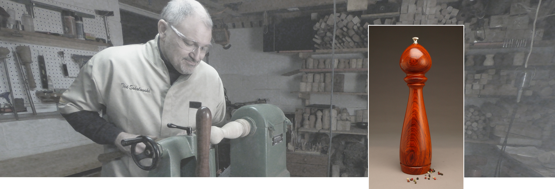 Ted Sokolowski Woodturning at lathe