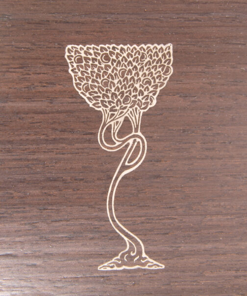 Pewter metal inlay of laser engraved chalice in black walnut