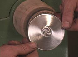 The completed brushed base on the Making Candlesticks DVD
