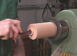 Sanding the interior 8 inch Peppermill
