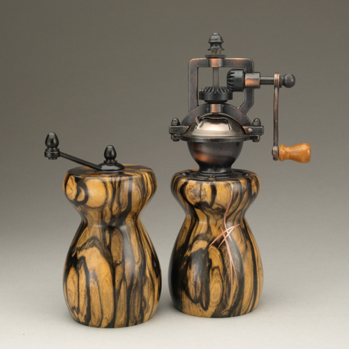 Black & White Ebony Salt Mill and Peppermill by Ted Sokolowski