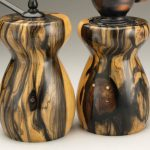 Antique Style Pepper Mill and Salt Mill Set in Black and White Ebony