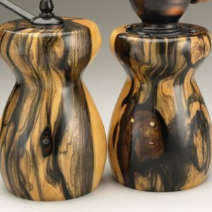 Detail of Black & White Ebony Salt Mill and Peppermill by Ted Sokolowski