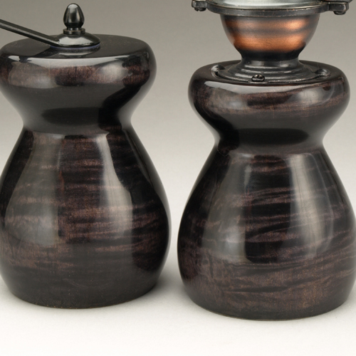 Ebonized Curly Maple Salt Mill and Peppermill by Ted Sokolowski