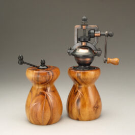 Jobillo with Copper Inlay Salt Mill and Peppermill by Ted Sokolowski