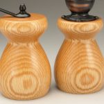 Antique Style Pepper Mill and Salt Mill Set in Red Oak