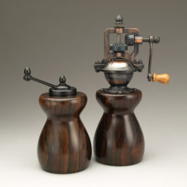 Antique Style Pepper Mill and Salt Mill Set in Ziricote
