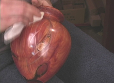 French Polishing a hollow form Vase on the Brilliant Finishes DVD for woodturners