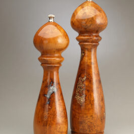 10″ & 12″ Artistic Pepper / Saltmill Set – Cherry Burl with Salt & Peppercorn Inlay