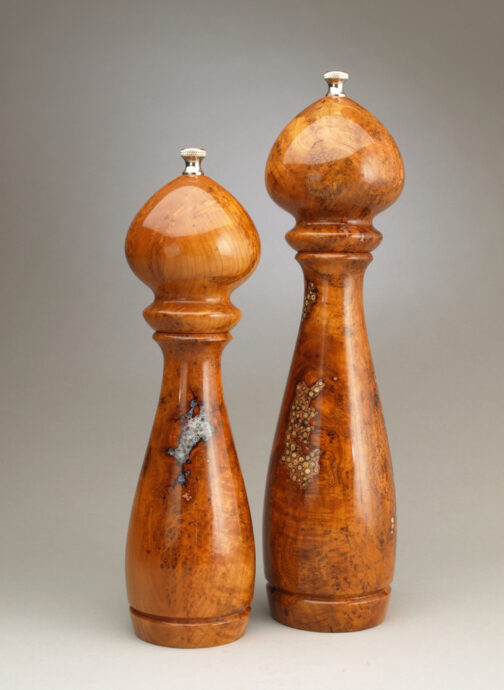 "12"" and 10"" cherry burl salt and peppermills with salt and peppercorn inlay by Ted Sokolowski"