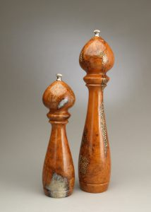 """14"""" and 10"""" cherry burl Salt and Peppermills with salt and peppercorn inlay by Ted Sokolowski"""