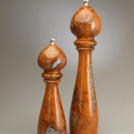 "14"" and 10"" cherry burl Salt and Peppermills with salt and peppercorn inlay by Ted Sokolowski"