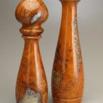 10″ & 14″ Artistic Pepper / Saltmill Set – Cherry Burl with Salt & Peppercorn Inlay