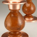 Votive Candlesticks Pair – Cherry Burl & Copper