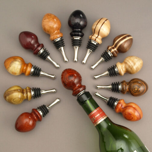 Wine / Bottle Stopper Tree and assortment of Ted Sokolowski Bottle Stoppers