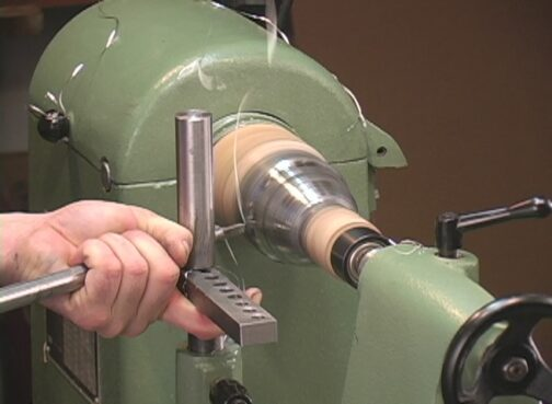 Trimming the Jefferson Cup at the lathe