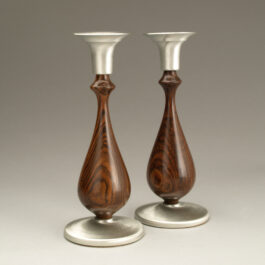 Taper Candlesticks Pair – Bocote & Pewter