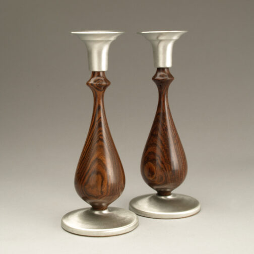 Taper Candlesticks with Bocote and Pewter Accents made by Ted Sokolowski
