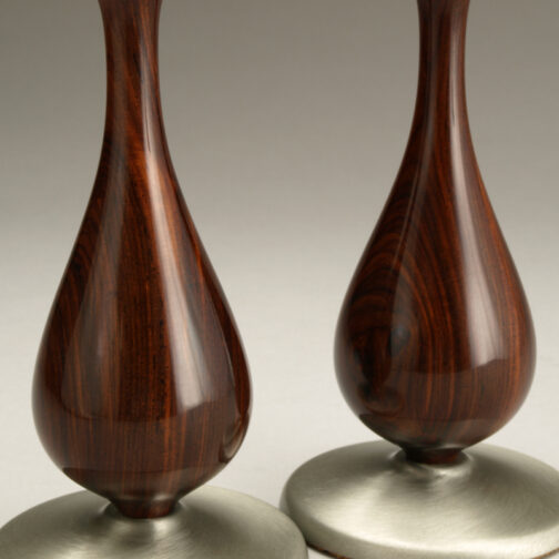 Taper Candlesticks with Cocobolo and Pewter Accents Close-up made by Ted Sokolowski