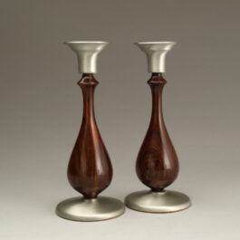 Taper Candlesticks Pair – Cocobolo & Pewter