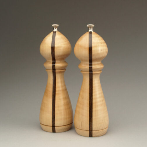 "8"" traditional salt and peppermill in curly maple black walnut laminate by Ted Sokolowski"