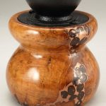 Antique Style Coffee Grinder in Cherry Burl with Coffee Inlay