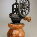 Antique Style Coffee Grinder in Cherry Burl with Coffee Inlay 2