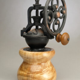 Antique Style Coffee Grinder in Curly Maple 2
