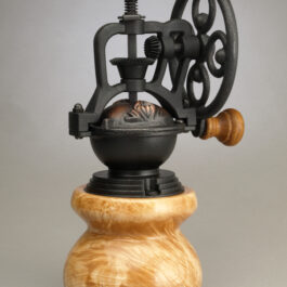 Antique Style Coffee Grinder in Curly Maple 1