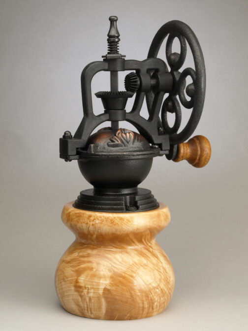Curly Maple Ceramic Coffee Grinder