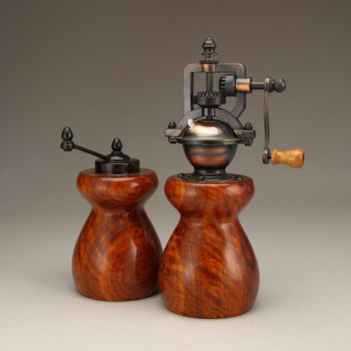 Curly Narra Salt Mill and Peppermill by Ted Sokolowski