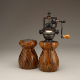 Antique Style Pepper Mill and Salt Shaker Set in Bocote