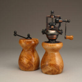 Curly Maple Salt Mill and Peppermill set by Ted Sokolowski