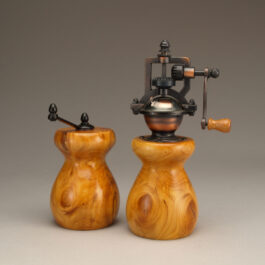 Antique Style Pepper Mill and Salt Mill Set in English Yew