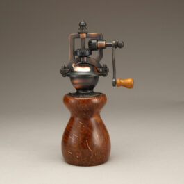 Antique Style Pepper Mill in Thuya Burl – Copper Inlay