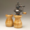 Antique Peppermill and salt shaker set in Curly Ash