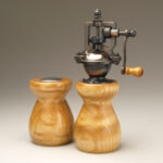 Antique Style Pepper Mill and Salt Shaker Set in Curly Ash