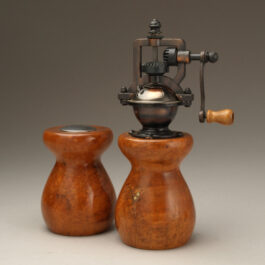 Antique Style Pepper Mill and Salt Shaker Set in Cherry Burl 1 w/Copper