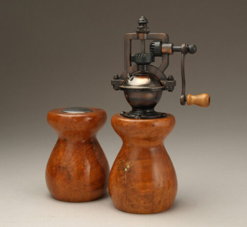 Antique Peppermill and salt shaker set in cherry burl with copper and peppercorn inlay