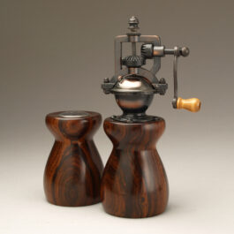 Antique Style Pepper Mill and Salt Shaker Set in Cocobolo 3