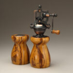 Antique Style Pepper Mill and Salt Shaker Set in Marblewood